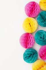Bright party honeycomb pom pom decorations