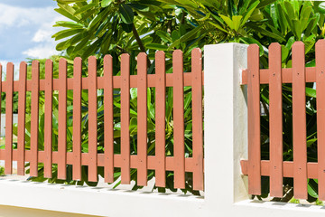 wood and metal fence of residential house
