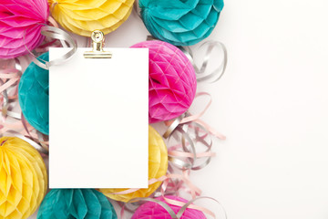 Bright party honeycomb pom pom decorations with blank poster