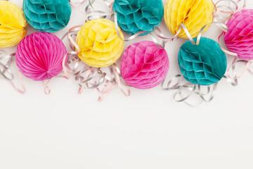 Bright party honeycomb pom pom decorations