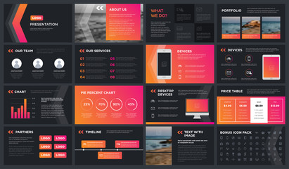 Minimal Modern dark gradient presentation template. You can use it presentation, flyer and leaflet, corporate report, marketing, pitch, annual report, catalog.