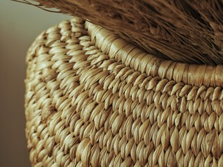 Brown woven basket, closeup.
