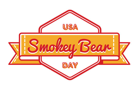 USA Smokey Bear day emblem isolated vector illustration on white background. 9 august american holiday event label, greeting card decoration graphic element