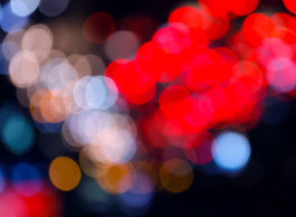 abstract blurred background of colorful night light bokeh effect for background.