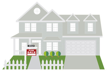House Sold with For Sale Sign Color vector Illustration