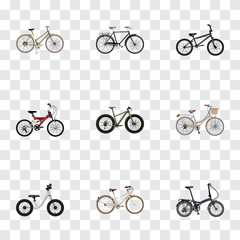 Realistic Fashionable, For Girl, Folding Sport-Cycle And Other Vector Elements. Set Of Bicycle Realistic Symbols Also Includes Fashionable, Bicycle, Bmx Objects.