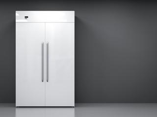 fridge with side by side doors in empty room