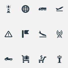 Vector Illustration Set Of Simple Infrastructure Icons. Elements Airport, Banner, International And Other Synonyms International, Control And Departure.