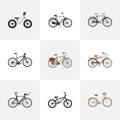 Realistic Old, Hybrid Velocipede, Working And Other Vector Elements. Set Of Bicycle Realistic Symbols Also Includes Bike, Postman, Retro Objects.