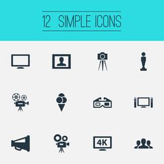 Vector Illustration Set Of Simple Film Icons. Elements Sorbet, Viewers, Home Cinema And Other Synonyms Movie, Spectators And Megaphone.