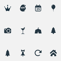 Vector Illustration Set Of Simple Celebration Icons. Elements Christmas Character, Forest, Crown And Other Synonyms Christmas, Forest And Day.