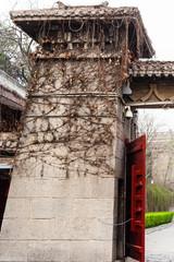 gate on embankment Yi river to Longmen Grottoes