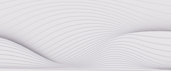 Wave band abstract background surface 3d rendering
