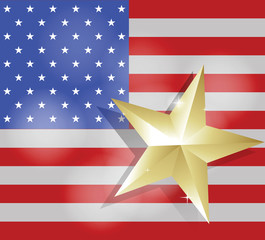 Star for success on United States of America flag