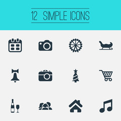 Vector Illustration Set Of Simple Christmas Icons. Elements Relatives, Basket, Alcohol Beverage And Other Synonyms Music, Cottage And Shopping.