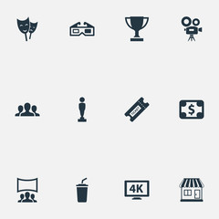 Vector Illustration Set Of Simple Film Icons. Elements Trophy, Grocery, 3D Glasses And Other Synonyms Spectators, Viewers And K.