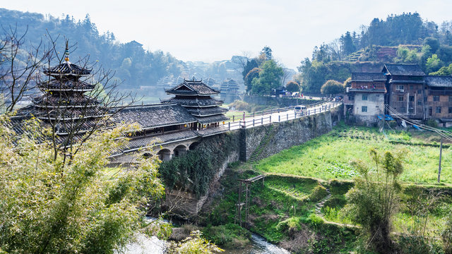 view of Fengyu Bridge and gardens in Chengyang