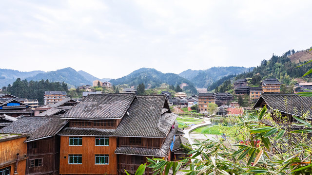 above view of cottages in Chengyang village