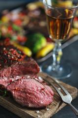 Pepper beef steak with vegetables