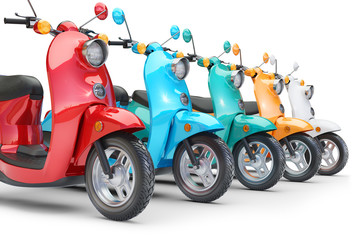 Group color scooters in row