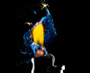 The flame from a gas lighter