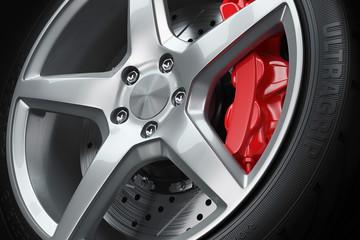 Car wheel brakes closeup
