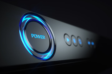 Power button on control panel Blue-ray player