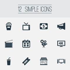 Vector Illustration Set Of Simple Cinema Icons. Elements Cash, Soda, Snack And Other Synonyms Currency, 4 And Tv.