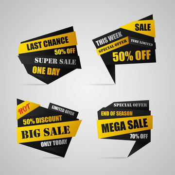 Four sale banners with 50%, 70% off. Discount poster with today, this week, end of season offers. Vector illustration mega, big, super, hot sale. Time limited.