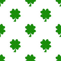 Vector seamless clover pattern green irish ireland leaf plant shamrock celebration holiday background
