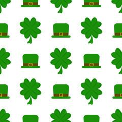 Vector seamless clover pattern green irish ireland leaf plant shamrock celebration holiday background