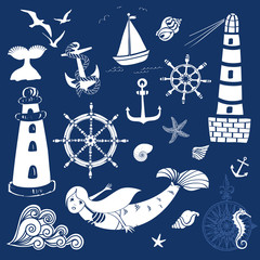 Seaside Graphic Elements, including lighthouses, mermaid, anchors, seashells and ship steering wheels