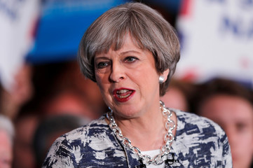 Britain's Prime Minister Theresa May speaks at an election campaign event in Solihull