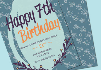 Blue Circle and Leaf Pattern Birthday Party Invitation