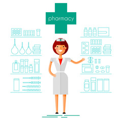 Pharmacist in the pharmacy, medicines and accessories. Flat, linear style. Stylized image. Vector illustration.