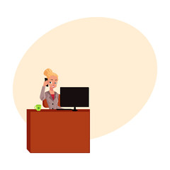 Young pretty blond businesswoman, secretary answering phone, calling at office table, cartoon vector illustration with space for text. Businesswoman, secretary, office manager answering phone