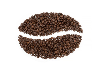 Coffee beans symbol isolated on white background.
