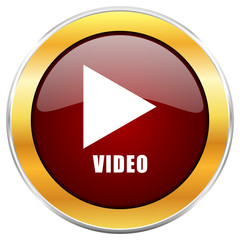 Video red vector glossy round icon with golden chrome metallic border isolated on white background for web and mobile apps designers.