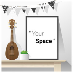 Interior poster mock up with empty frame and ukulele on wooden table , vector , illustration