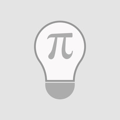 Isolated light bulb with the number pi symbol