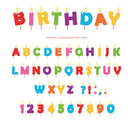 Birthday candles colorful font design. Bright festive ABC letters and numbers isolated on white.