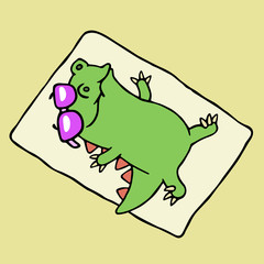 Funny dinosaur sunbathing on the beach. Vector illustration.