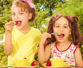 Two beautiful young girls, eating a healthy strawberry and grapes using a fork, in a garden background