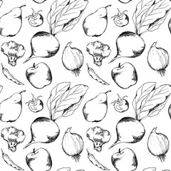 Vegetable fruit monochrome ink hand drawn seamless pattern texture background vector