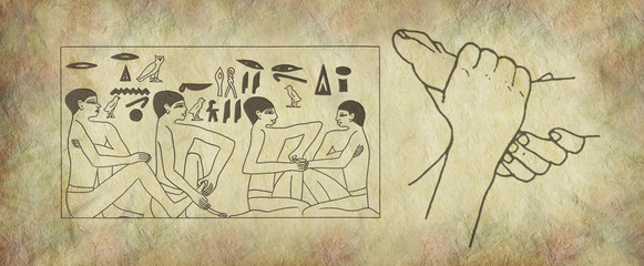 The Ancient Practise of Reflexology Wall Art -  pair of female feet on right with Egyptian hieroglyphic panel of foot massage scene on stone effect background