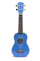 Blue ukuleles isolated on white