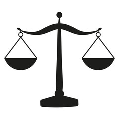 Scales of justice on a white background
