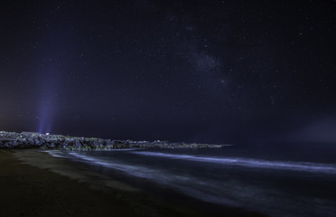 Scenic View Of Beach Against Star Field