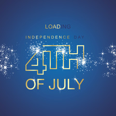 Day 4th July loading spark firework gold blue vector