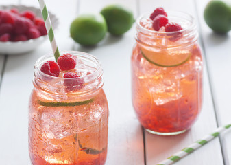 Raspberry Lime Iced Tea or Cocktail with Ingredients